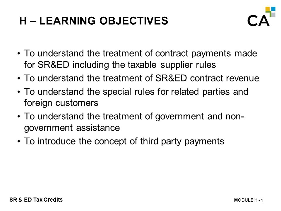 H – SR&ED Contract Payments