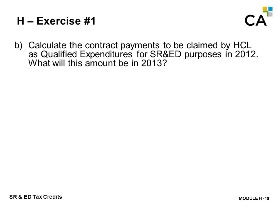 H – Exercise #1 c) Calculate the Third Party Payments to be claimed.