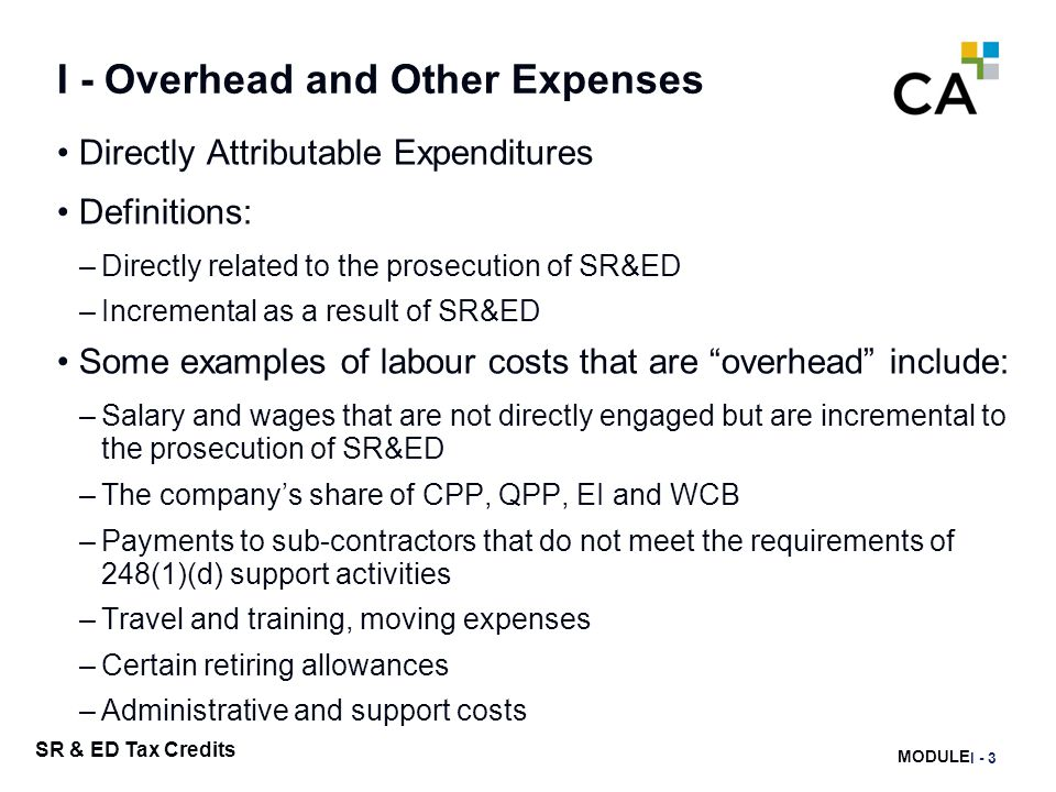 I – Overhead and Other Expenses
