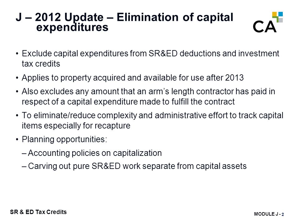 J - SR&ED Capital Equipment – prior to 2014