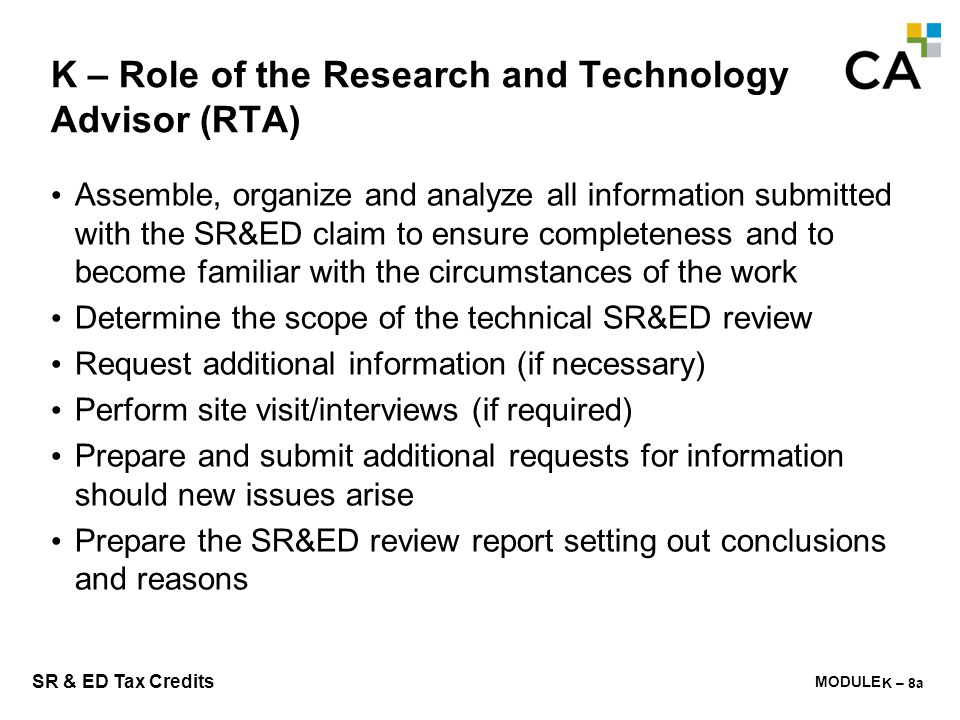 K – Role of the Research and Technology Advisor (RTA)