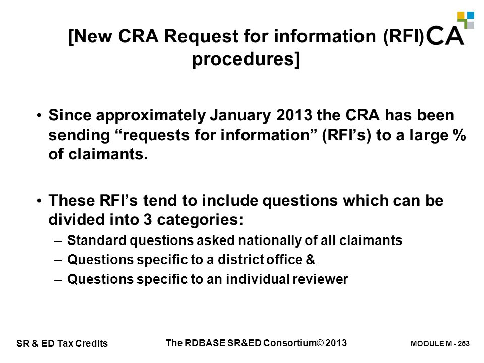 New CRA Request for information (RFI) procedures