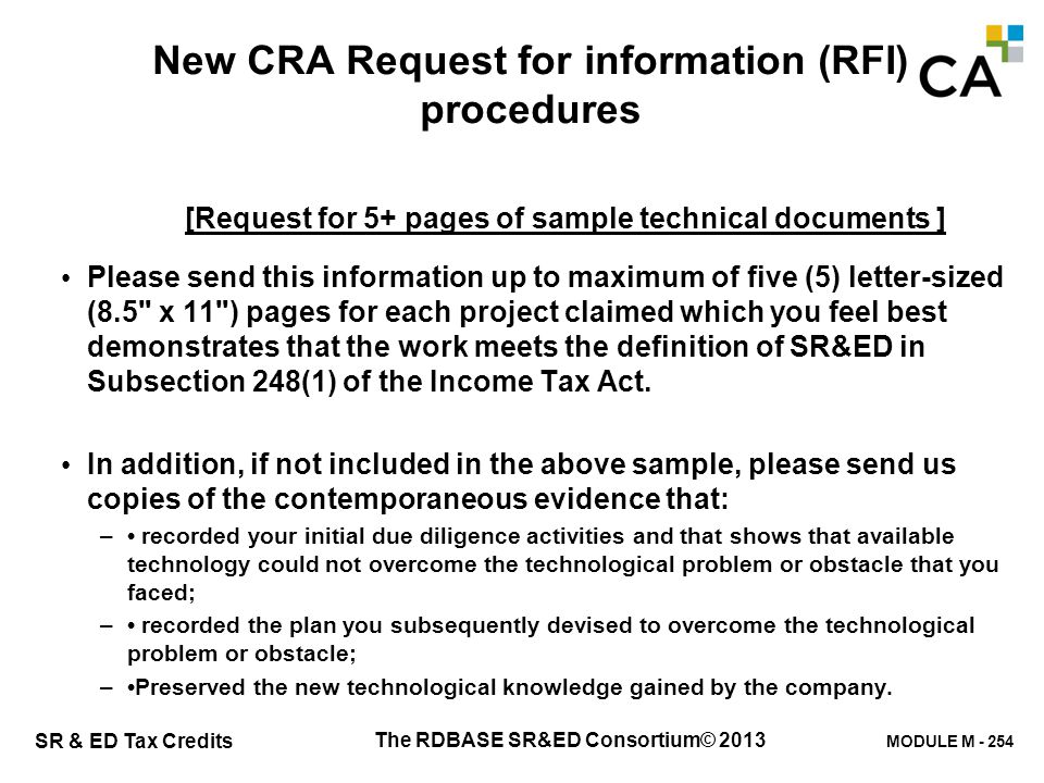 U.5 CRA - Recent Request for Information (RFI) procedures