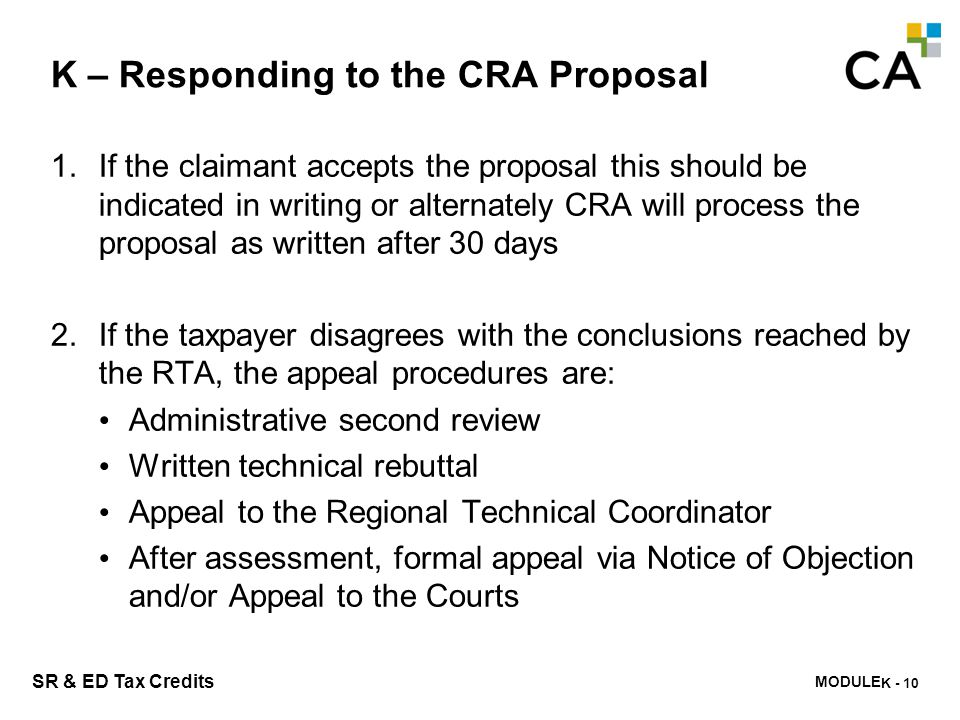 K – Claim Issues from CRA's Perspective