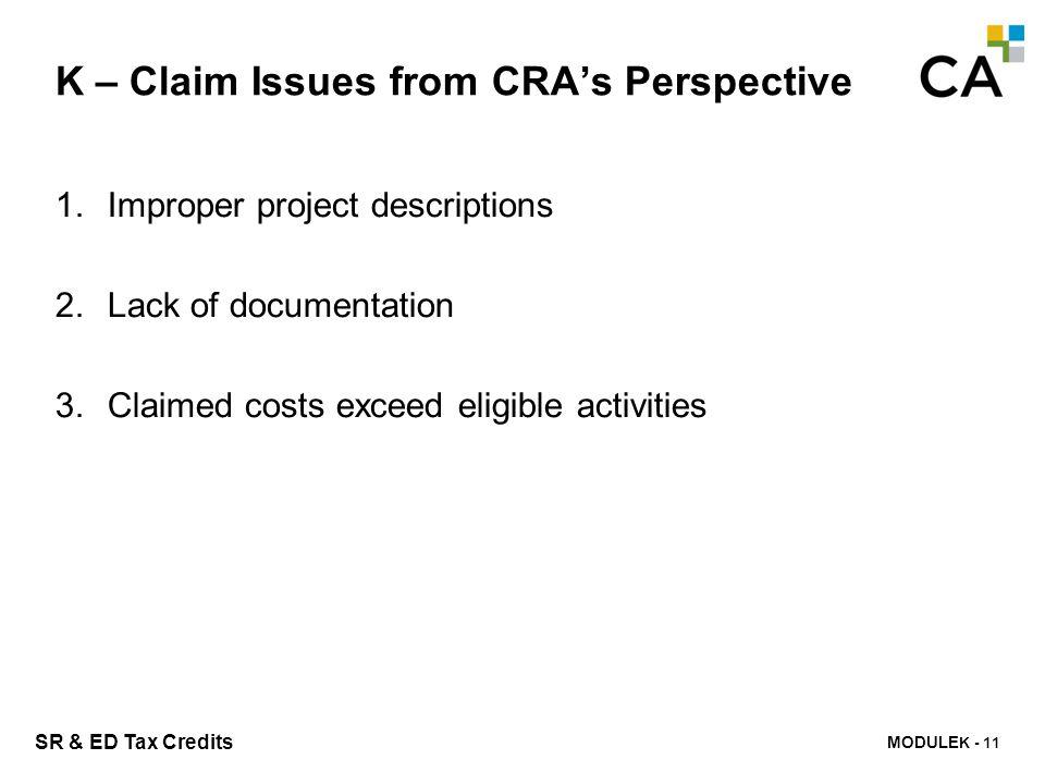 K – CRA Service Standards