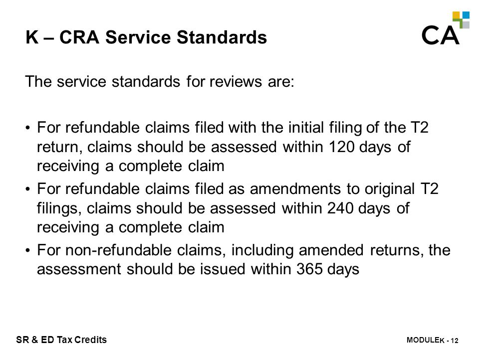 K – CRA Services to Taxpayers