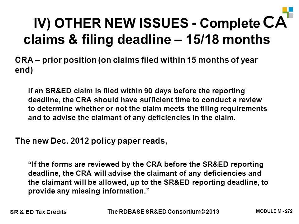 The RDBASE SR&ED Consortium© 2013