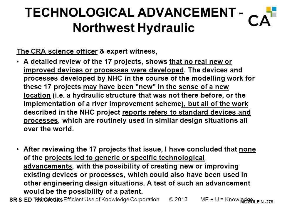 TECHNOLOGICAL UNCERTAINTY & ADVANCEMENT- Northwest Hydraulic