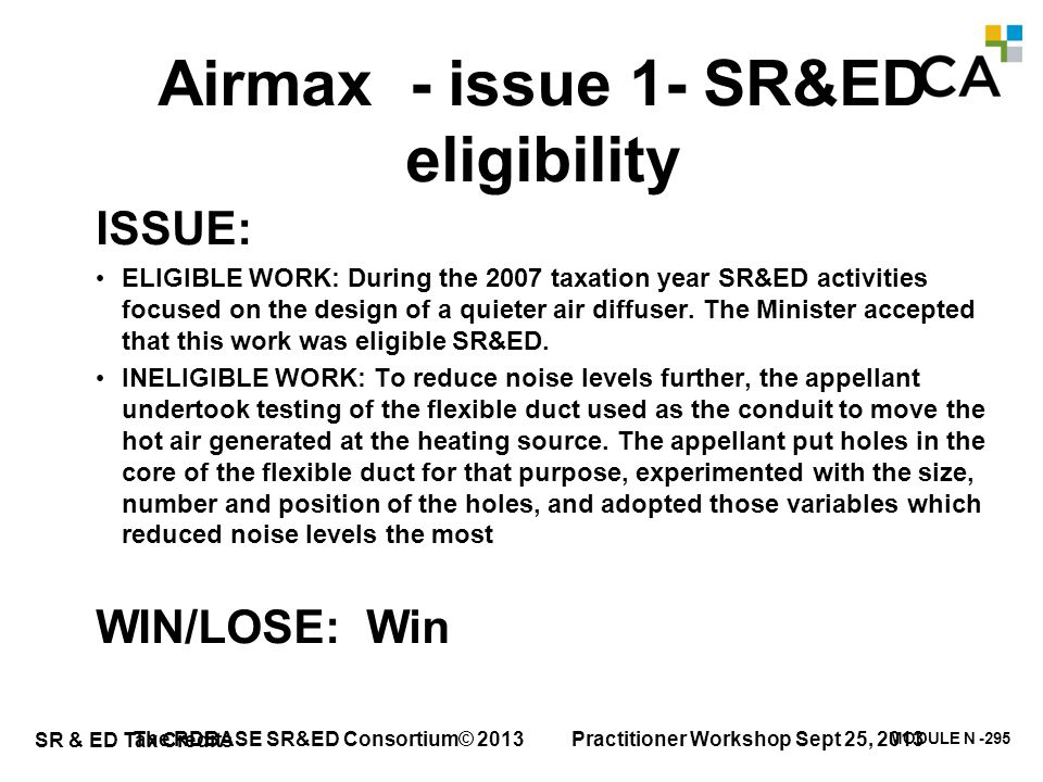 Airmax - issue 1- SR&ED eligibility