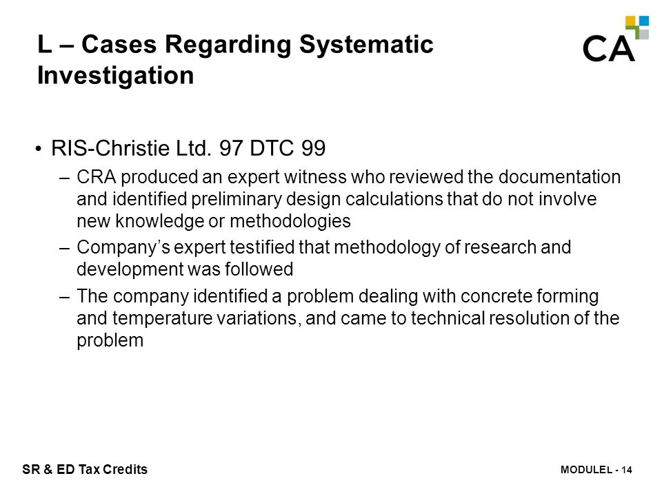 L – Cases Regarding Systematic Investigation