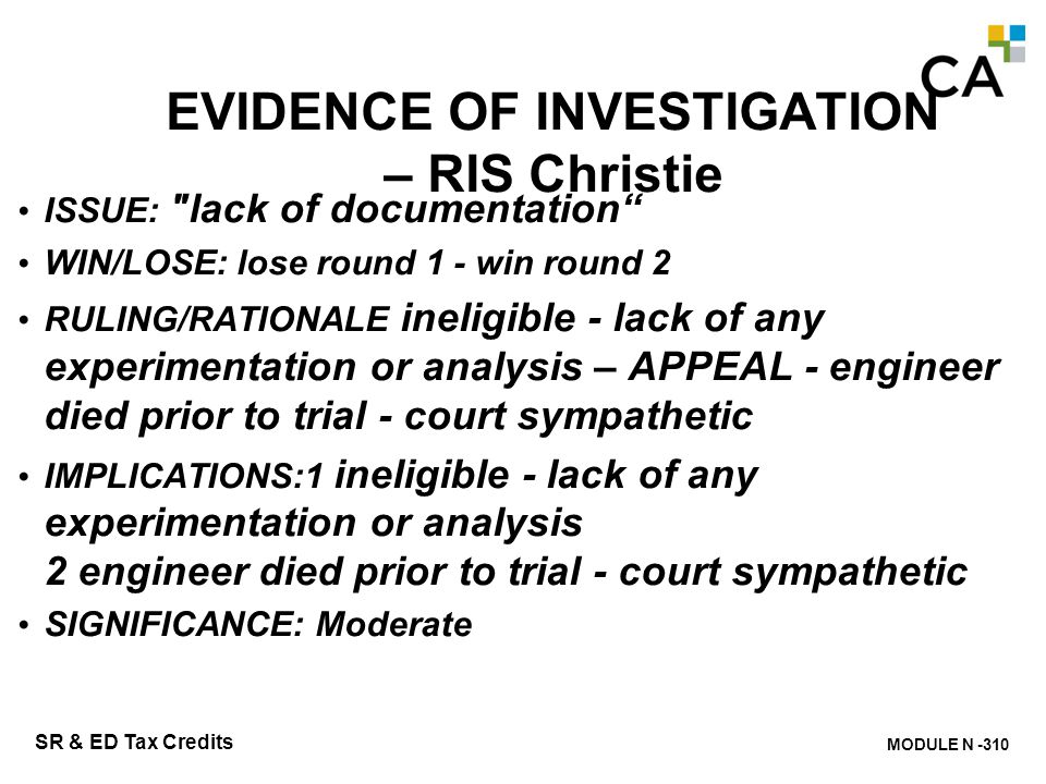 EVIDENCE OF INVESTIGATION – RIS Christie