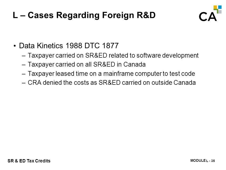 L – Cases Regarding Foreign R&D