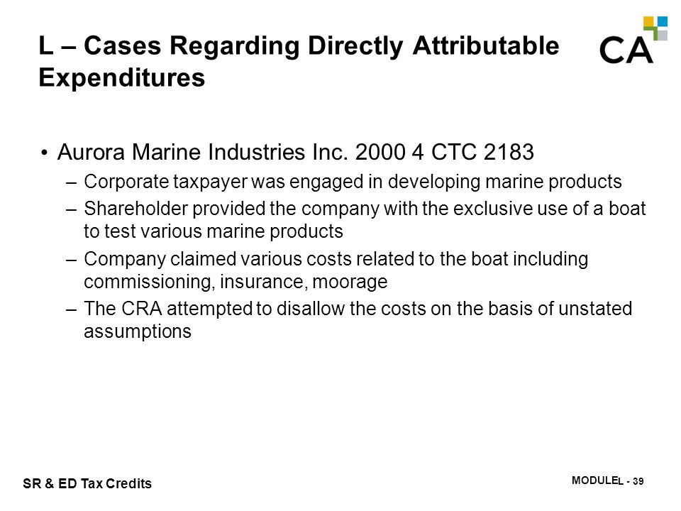 L – Cases Regarding Directly Attributable Expenditures