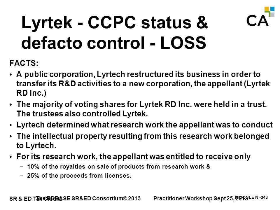 Lyrtek - CCPC status & defacto control - LOSS