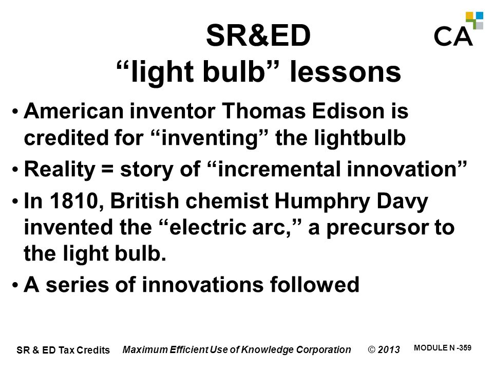 SR&ED light bulb lessons