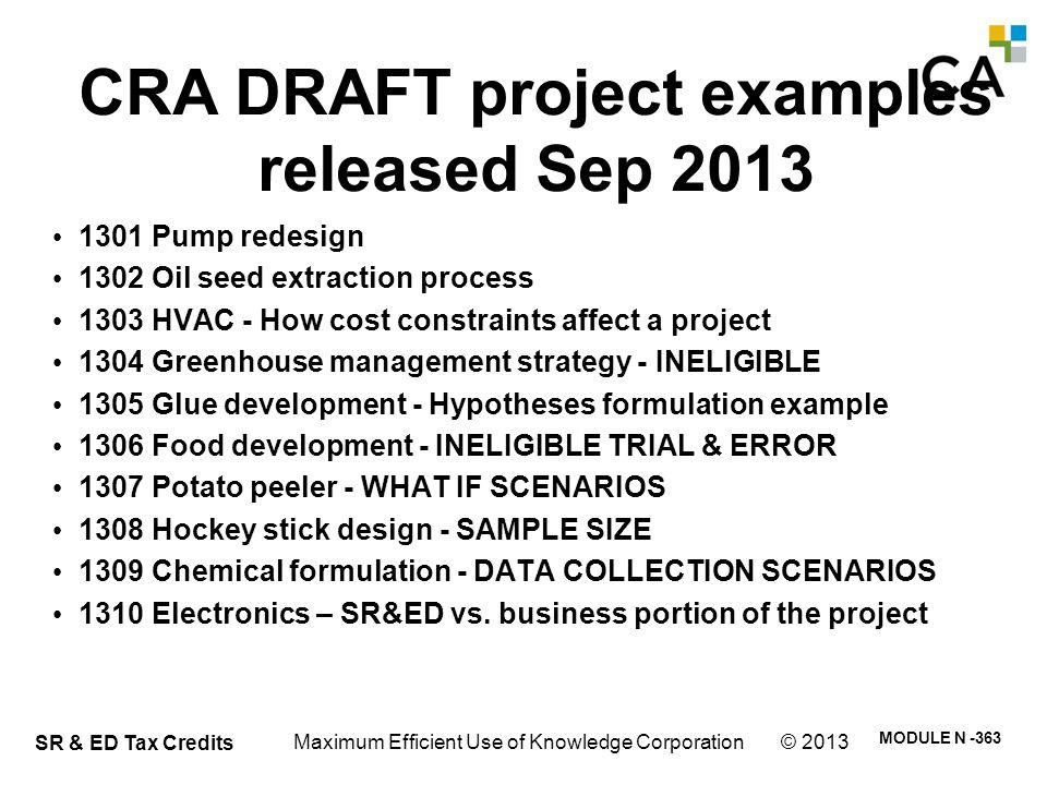 C – CRA draft projects Sep 18, 2013 Example #1: 1301 Pump redesign