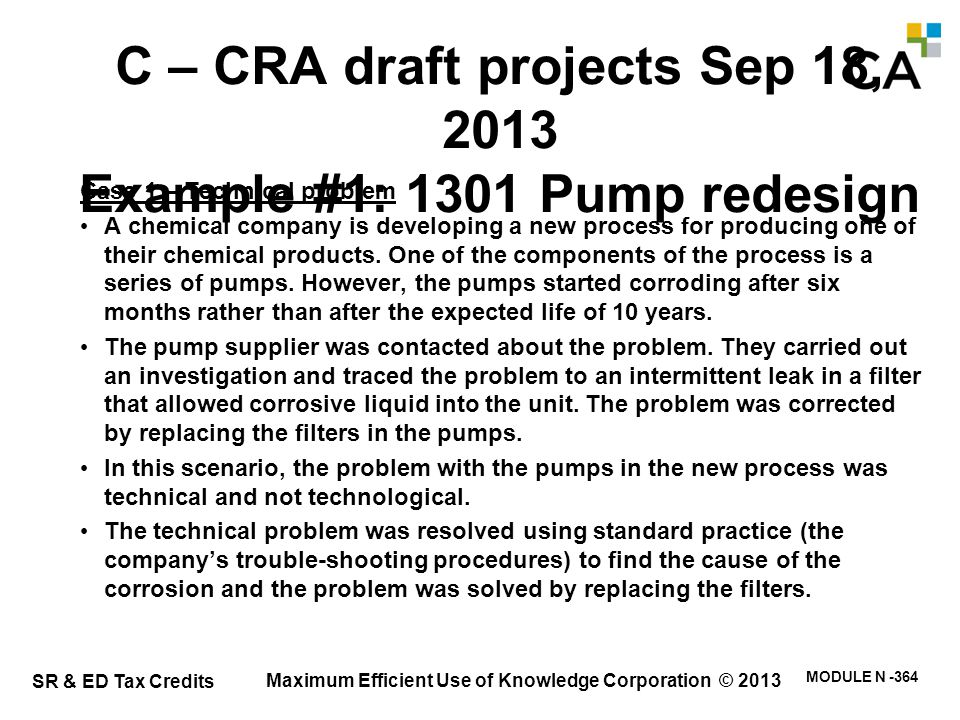 Case 2 – Technological uncertainty – pump redesign