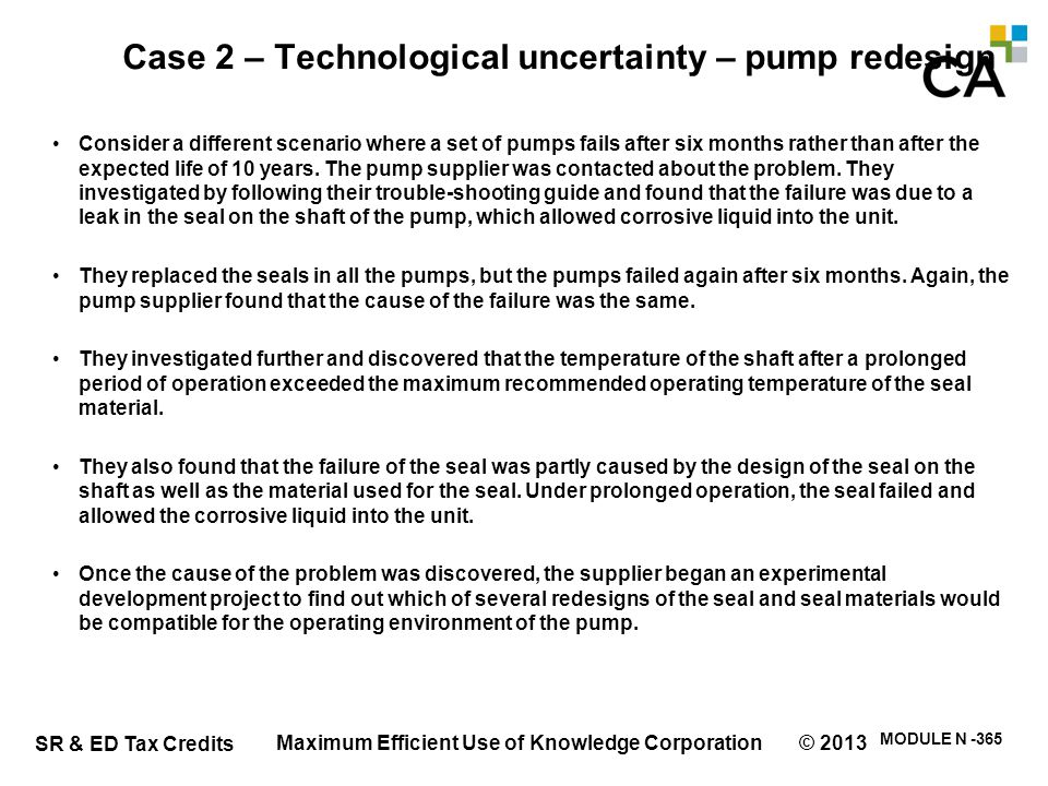 Case 2 – Technological uncertainty – pump redesign (ctnd.)