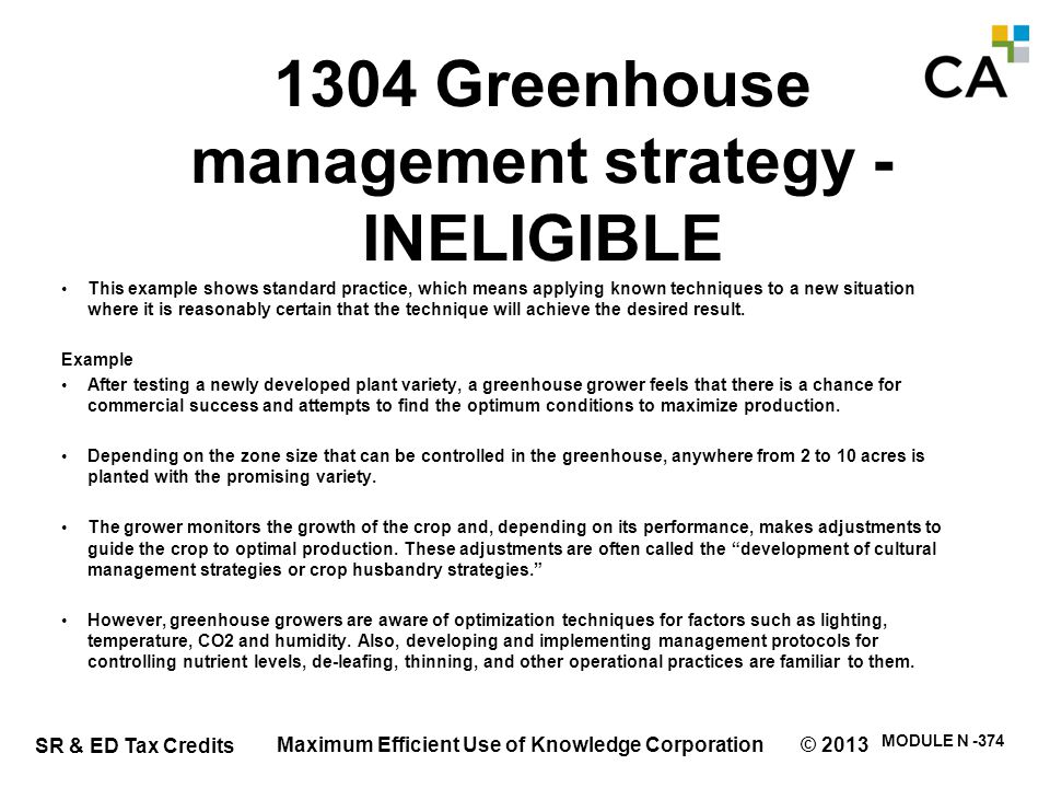1304 Greenhouse management strategy (cntd.)