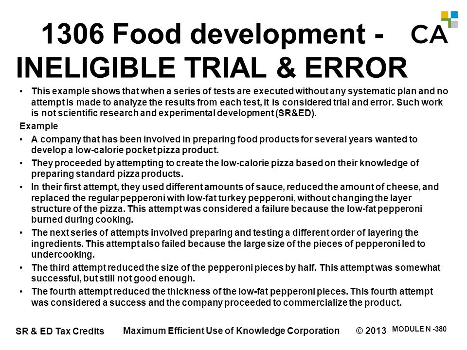 1306 Food development - INELIGIBLE TRIAL & ERROR