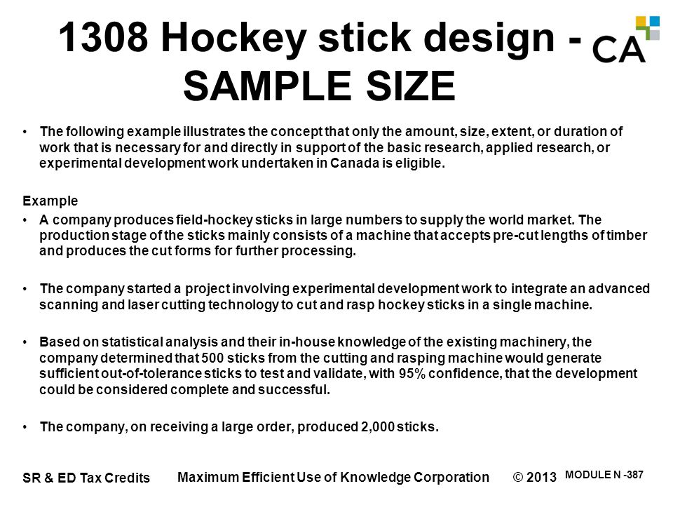 1308 Hockey stick design - SAMPLE SIZE