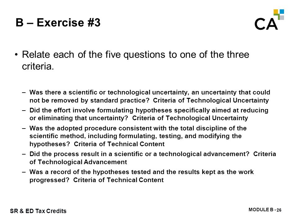 B – Exercise #4 Turn to the Project Information on page B-20. This sample was published by the CRA.
