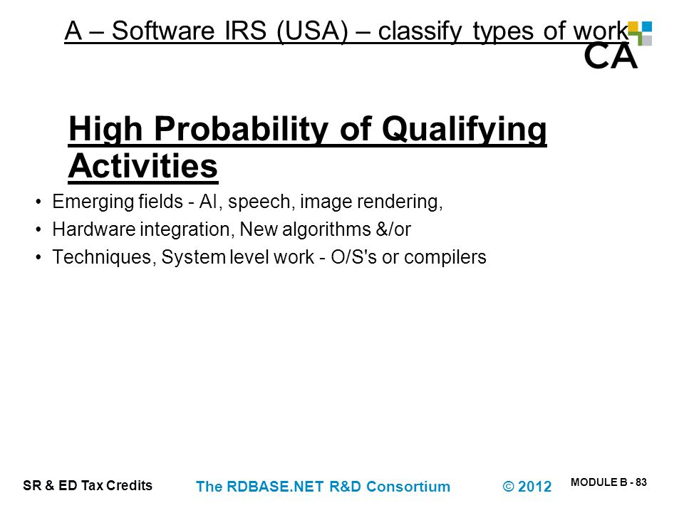 A – Software IRS (USA) – classify types of work