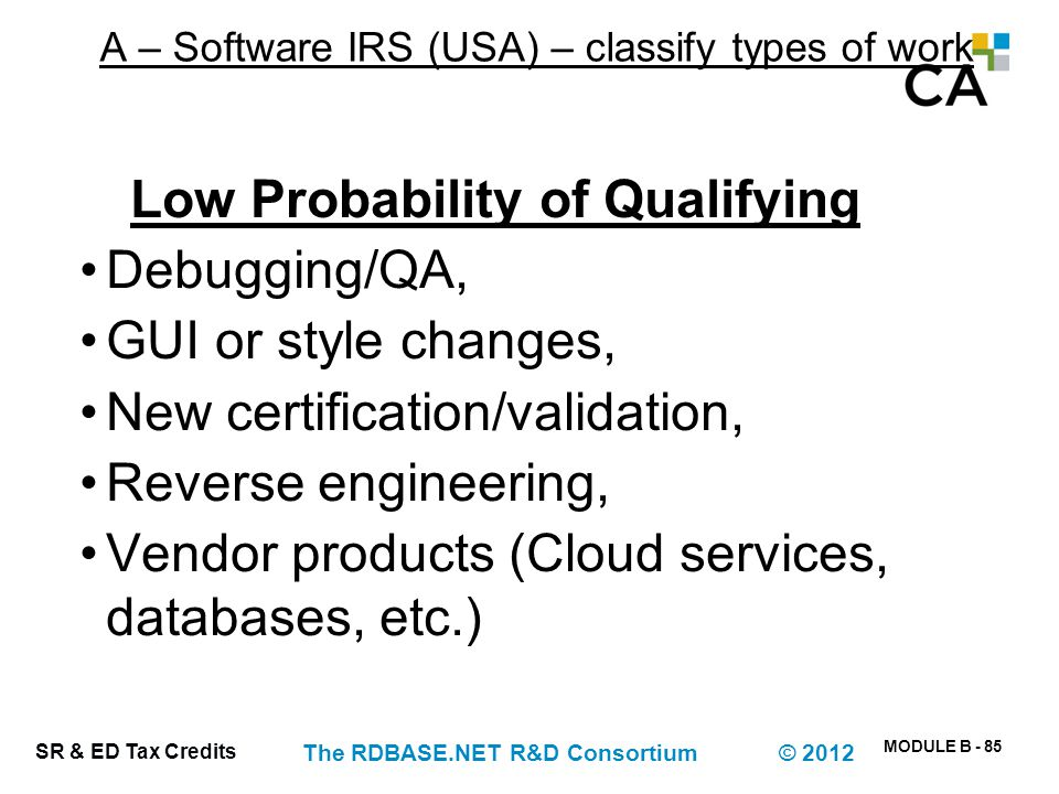 A – Software IRS (USA) – classify types of work (ineligible)