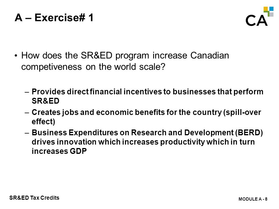 A – Exercise# 2 Who can claim SR&ED benefits