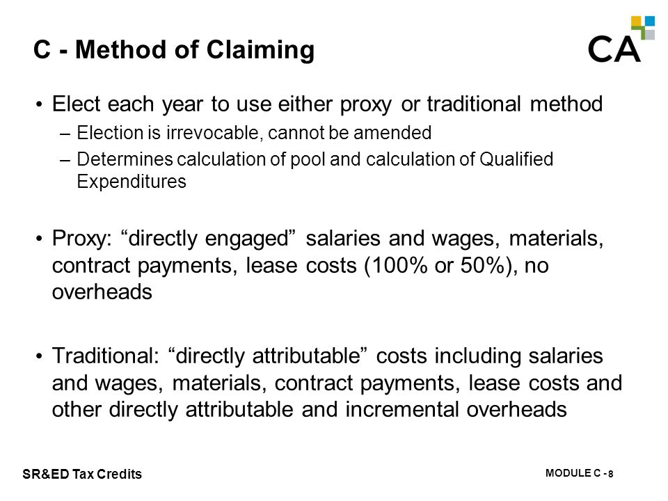 C - Eligible SR&ED Expenditures Under The Traditional Method