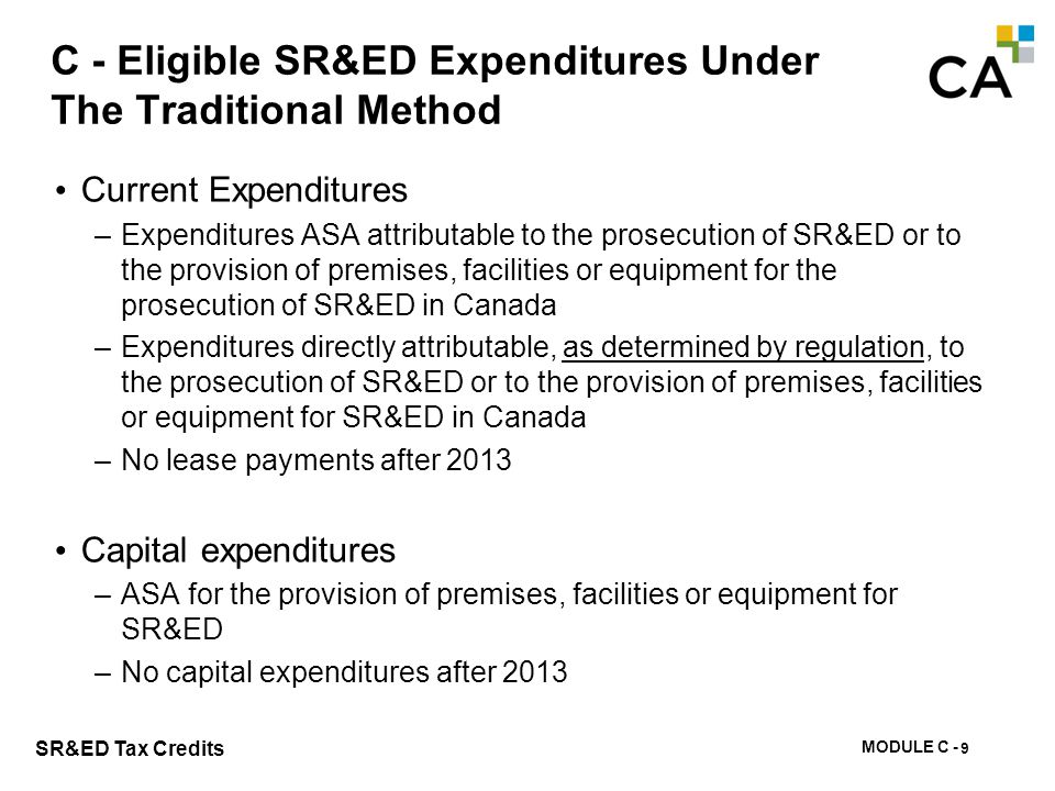 C - Eligible SR&ED Current Expenditures Under The Traditional Method