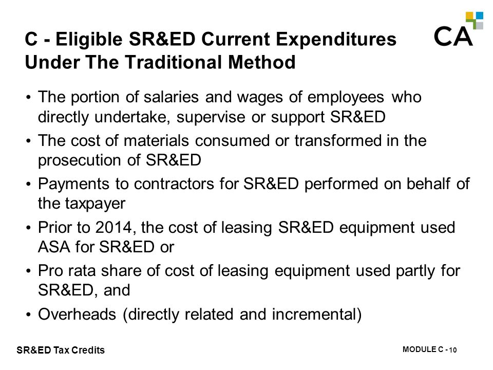 C - Eligible SR&ED Current Expenditures Under The Proxy Method