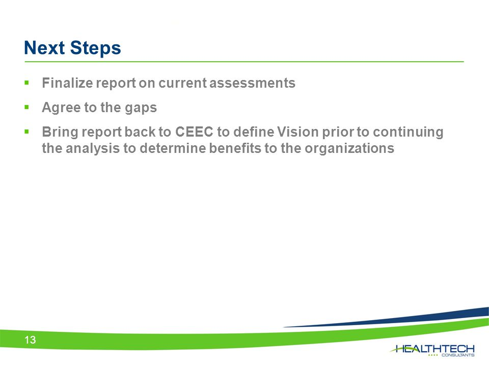 Next Steps Finalize report on current assessments Agree to the gaps