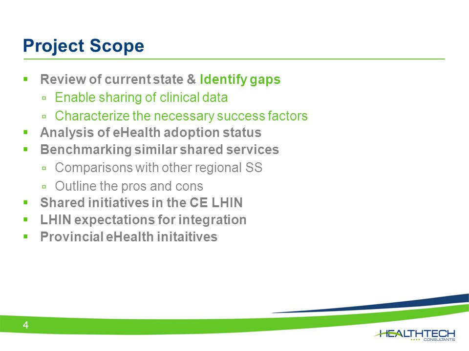 Project Scope Review of current state & Identify gaps