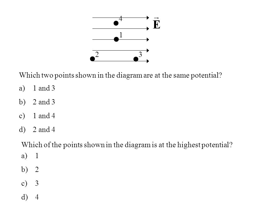 4 1. 2. 3. Which two points shown in the diagram are at the same potential 1 and 3. 2 and 3. 1 and 4.