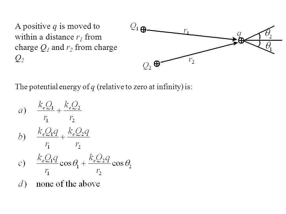 A positive q is moved to within a distance r1 from charge Q1 and r2 from charge Q2