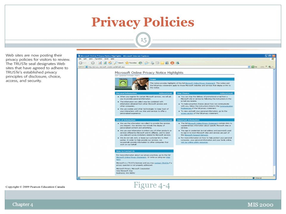 Privacy Policies Figure 4-4 Chapter 4 MIS 2000