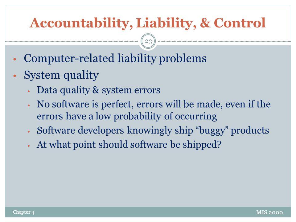 Accountability, Liability, & Control