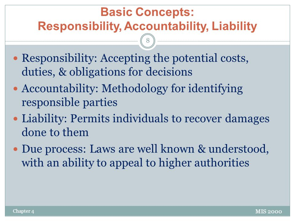 responsibility accountability It is necessary to have brief understanding of three terms intimately connected with the concept and process of delegation authority responsibility accountability.