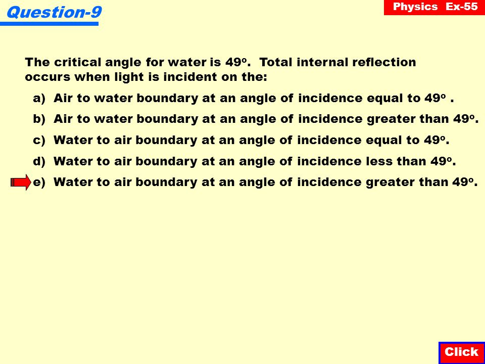 Question-9 The critical angle for water is 49o. Total internal reflection occurs when light is incident on the: