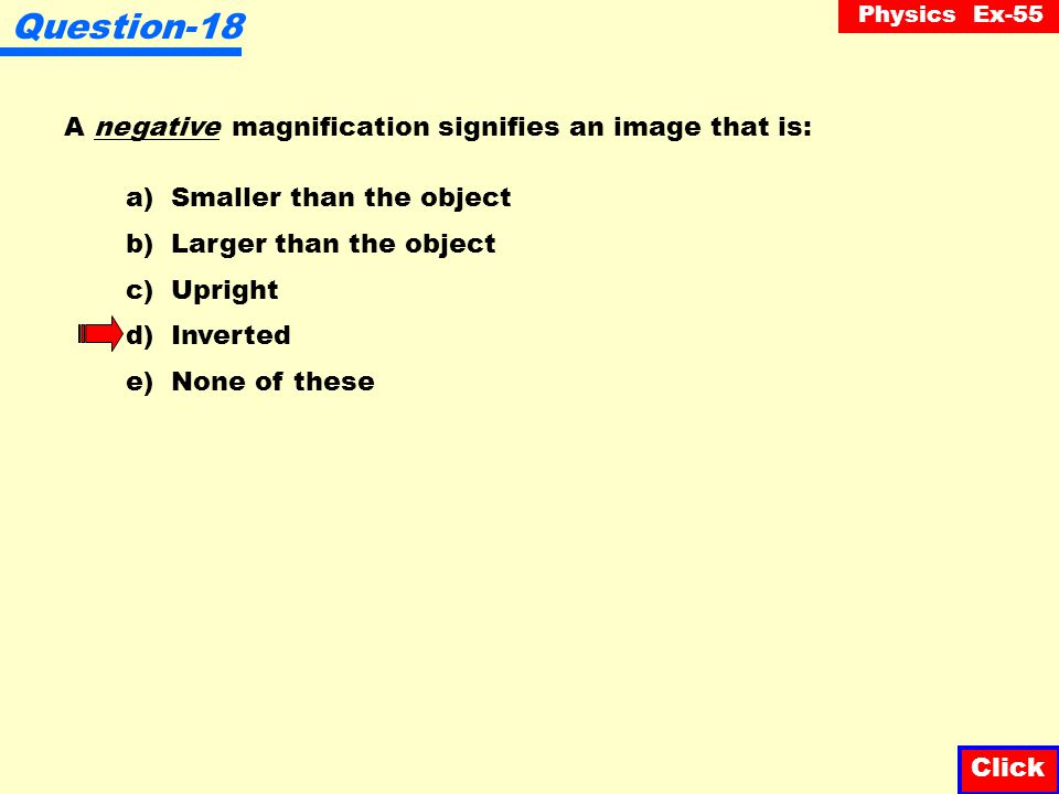 Question-18 A negative magnification signifies an image that is: