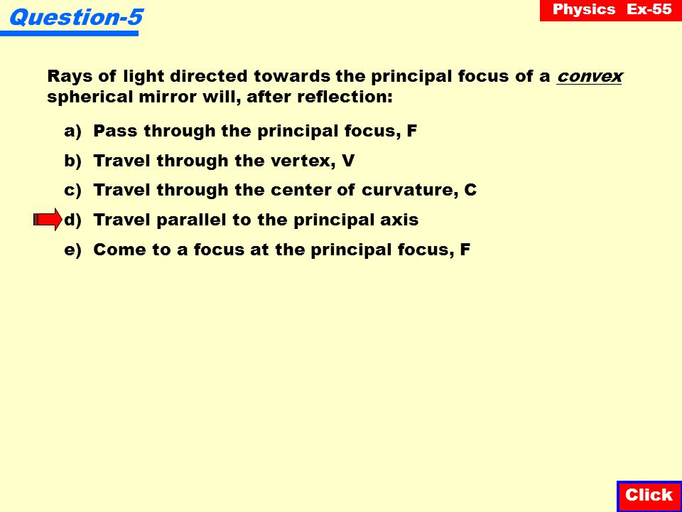 Question-5 Rays of light directed towards the principal focus of a convex spherical mirror will, after reflection: