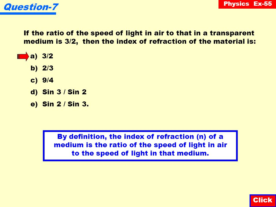 Question-7 If the ratio of the speed of light in air to that in a transparent medium is 3/2, then the index of refraction of the material is: