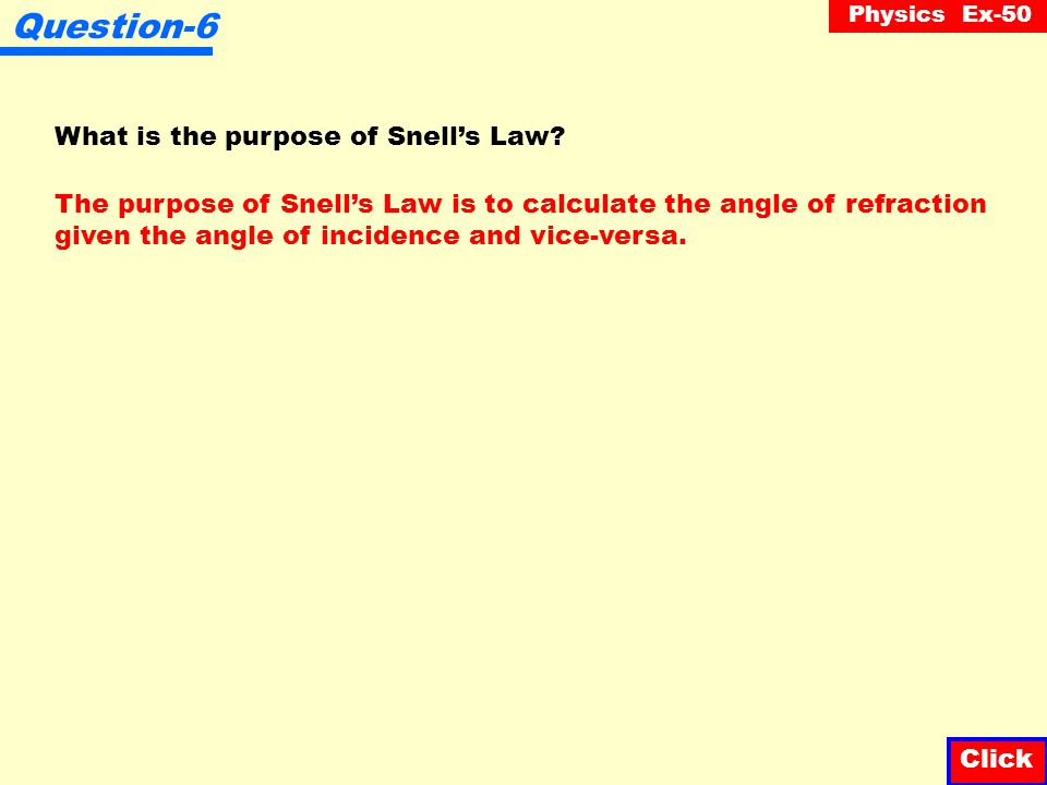 Question-6 What is the purpose of Snell's Law