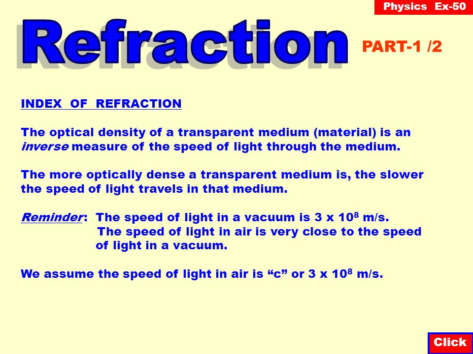 Refraction PART-1 /2 INDEX OF REFRACTION