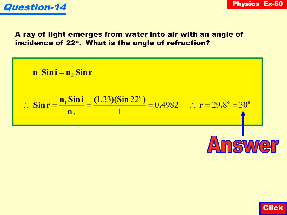 Question-14 A ray of light emerges from water into air with an angle of. incidence of 22o. What is the angle of refraction