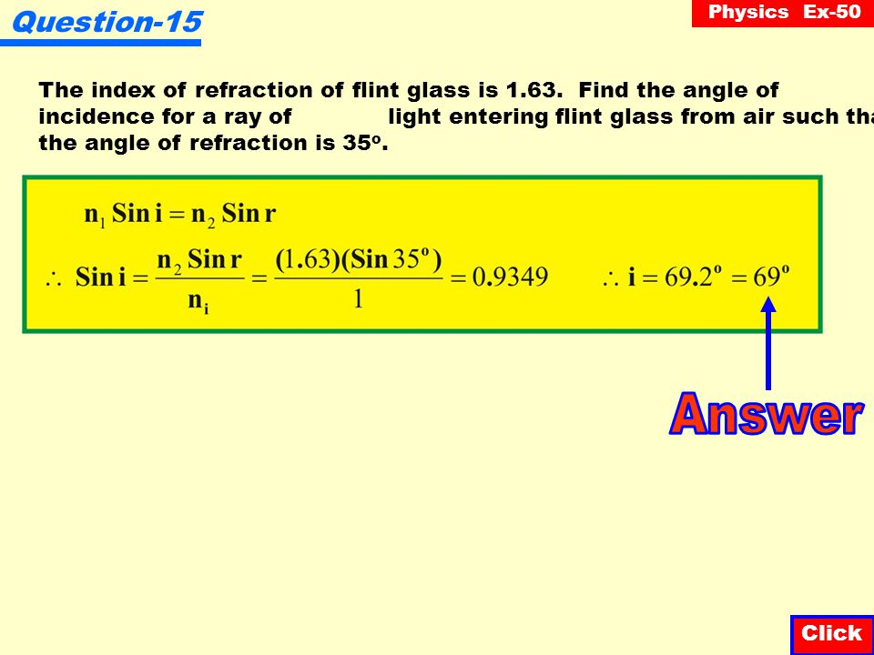 Question-15 The index of refraction of flint glass is 1.63. Find the angle of.