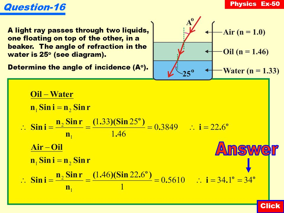 Answer Question-16 Click Click A light ray passes through two liquids,