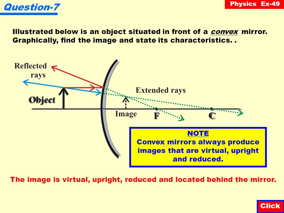 Question-7 Illustrated below is an object situated in front of a convex mirror. Graphically, find the image and state its characteristics. .