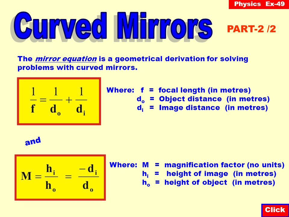 Physics inclass by ssl technologies with s lancione for Mirror formula